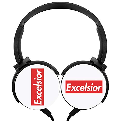 Excelsior Wired Stereo Headphones Customized Foldable Headsets Over Ear for Kids or Adults Black