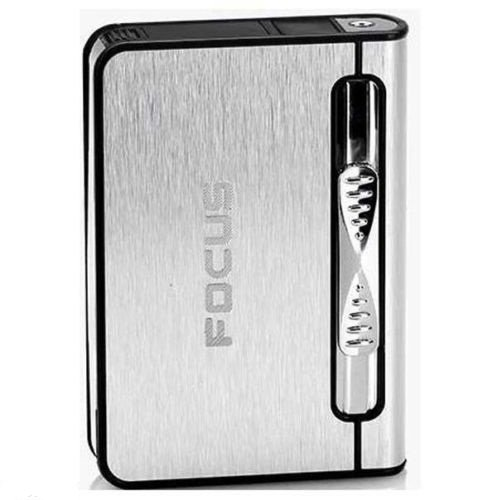 Silver 2 in 1 Focus Automatic Ejection Cigarette Case with Fill Butane Lighter