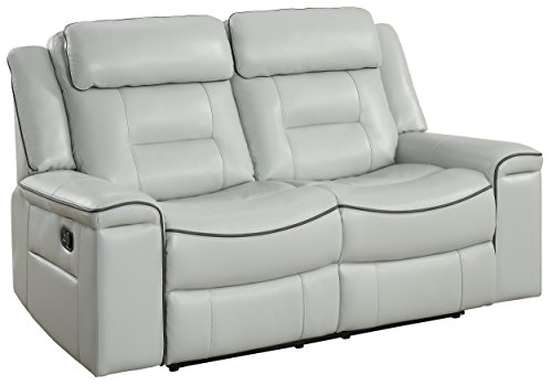 "Homelegance Darwan 65"" Leather Gel Double Reclining Loveseat, Light Gray"