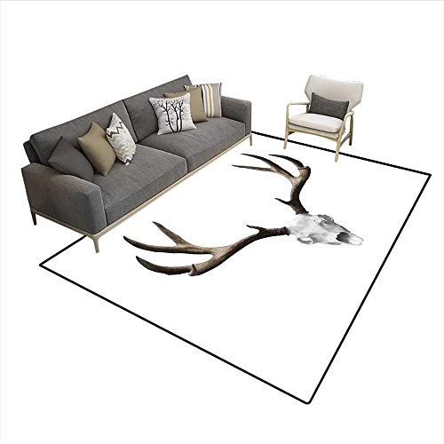 Carpet,A Deer Skull Skeleton Head Bone Halloween Weathered Hunter Collection,Non Slip Rug Pad,5'x8' -