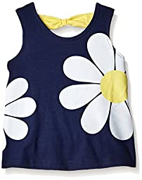 Gerber Graduates Little Girls\' Toddler Sleeveless Top with Bow Back, Navy Flower, 4T