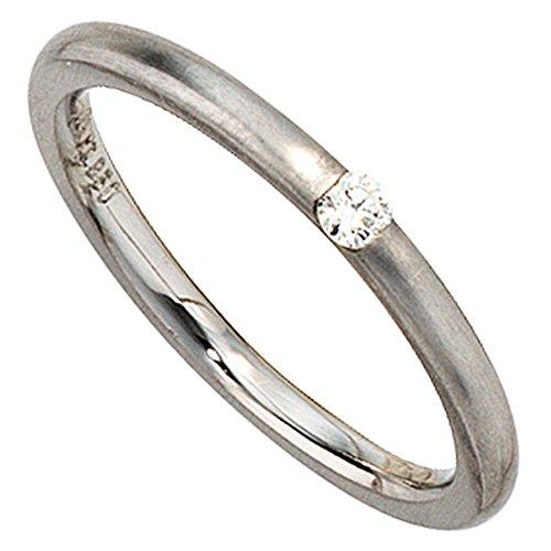 Bague solitaire Bague Femme Diamant Brillant Platine 950dépoli Bague en Platine simple
