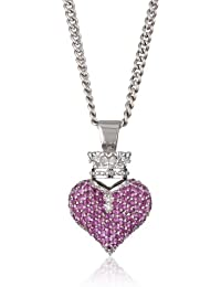 Large 3D Pave Pink Cubic Zirconia Crowned Heart Pendant Necklace