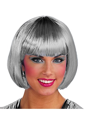 Forum Novelties Color Line Bob Wig W/Tinsel W, Silver (Tinsel Party Wig)