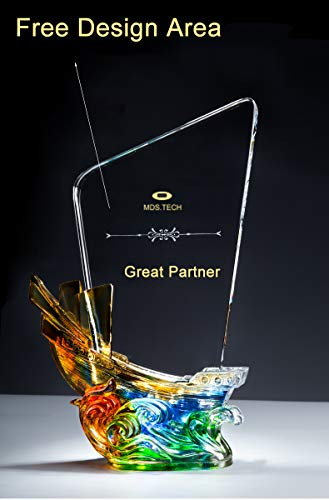 initiative letter Custom-Made Colored Glaze Champion Trophy Cup Free Design DIY Your Own Text/Logo/Image Engraved-11 Inch Tall Crystal Award Sailboat Colored Glazel Trophies ()