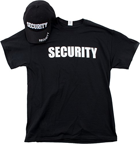 Security Hat & T-Shirt Bundle | Matching Security Guard Officer Uniform Kit-(Adult,XL) Black