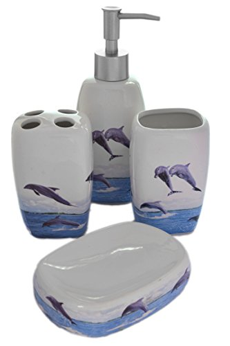 4 Piece Dolphins Nautical Sea Ocean Ceramic Bathroom Accessory Set
