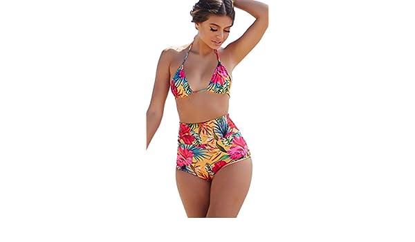 e07966906507 Amazon.com: Chynna Dolls Swimwear Waikiki Tropical Sunset High Waist Bottoms  Triangle Top Bikini Set Yellow: Clothing