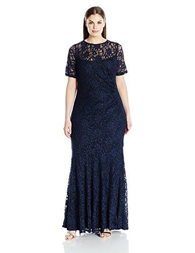 Decode 1.8 Women's Plus Size Short Sleeve Lace Dress, Nav...