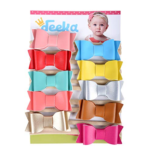 DEEKA Leather Headbands Bows with Soft Nylon Elastic Headband 10PCS 3