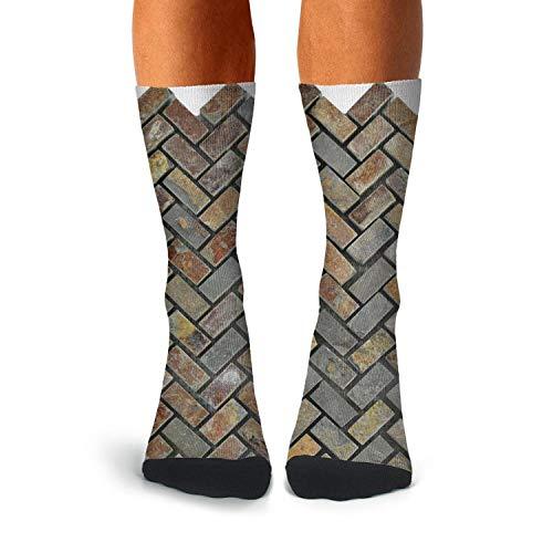 (KCOSSH Brown & Grey Herringbone Bricks Novelty Crew Sock Athletic Calf Socks for Men)