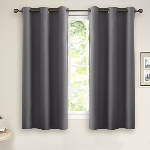 Grey Blackout Curtains for Bedroom - PONY DANCE Thermal Insulated Grommet Curtain Panels Room Darkening for Kitchen Window Treatments Home Decoration, 42 inches wide by 45 inches long, 1 Pair