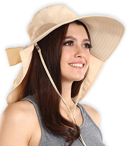 Sun Mesh Visor (UV Protection Sun Hat with Neck Flap & Chin Strap - Packable & Stylish Wide Brim Summer Hat for Women. Perfect for Beach Travels, Hiking & Outdoor Adventures. Moisture Wicking & Breathable Mesh)