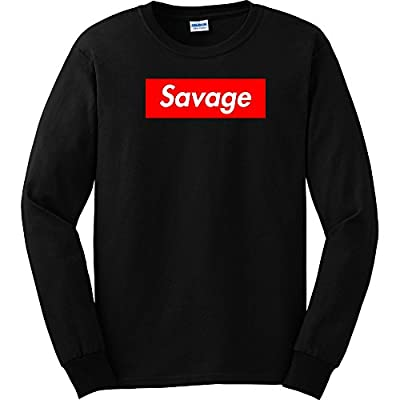 TShirtGuys 21 Savage Red Box Logo Long Sleeve Shirt T-Shirt Slaughter Gang Trap Black (3XL)