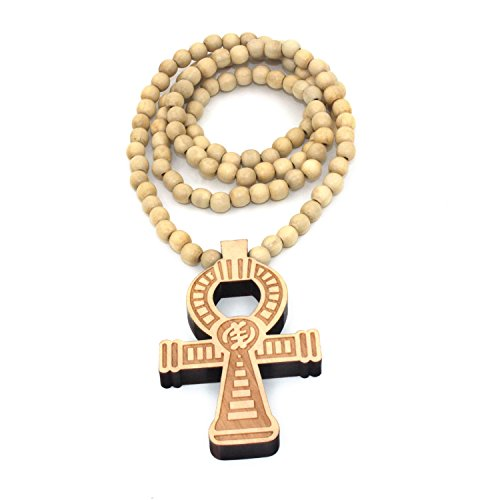 Baoyi Jewelry New ANKH CROSS Wooden Bead Chain Hip-hop Pendant Piece Bead Chain Necklace