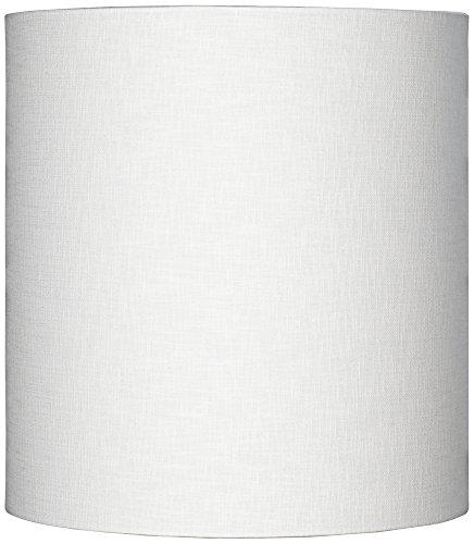 White Tall Linen Drum Shade 14x14x15