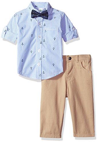 Shirt Khaki Pants (Little Me Baby Boys' Woven Pant Shirt and Tie Set, Sailor Stripe, 18 Months)