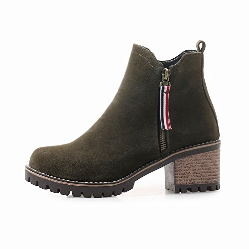 Carolbar Women's Concise Casual Block Mid Heel Zip Winter Short Boots Dark Green 1DRtp0