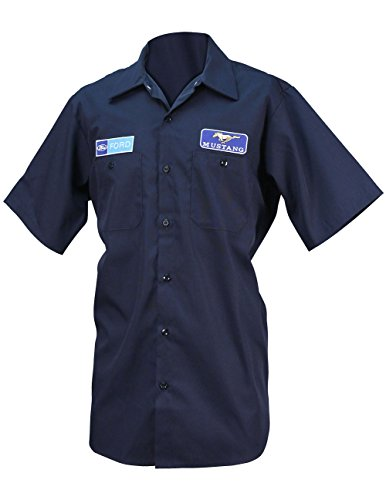 Ford Button Work Shirt w/Logo Emblems - Officially Licensed