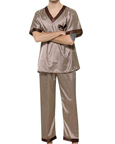 Indumenti Pezzi Unique Pantaloni Kaffeebraun Libero Traspirante Set Manica Uomo Pigiameria Lunga Per Lungo Stlie Gli Due Il E Da Notte Bagno Estiva Tempo Chemise Pigiama rrIqzp