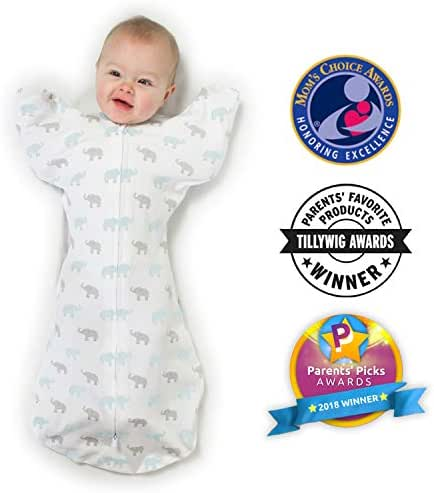 Amazing Baby Transitional Swaddle Sack with Arms Up Mitten Cuffs, Tiny Elephants, Blue, Medium, 3-6 Months (Parents' Picks Award Winner)