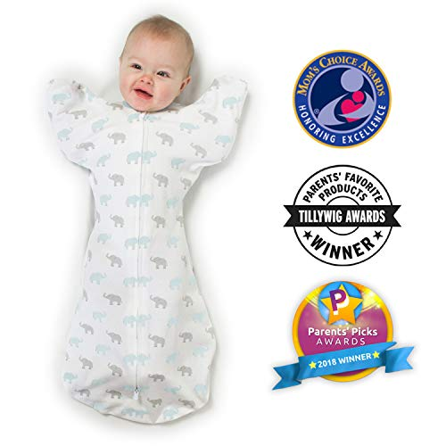 Amazing Baby Transitional Swaddle Sack with Arms Up Half-Length Sleeves and Mitten Cuffs, Tiny Elephants, Blue, Small, 0-3 Months (Parents Picks Award Winner)