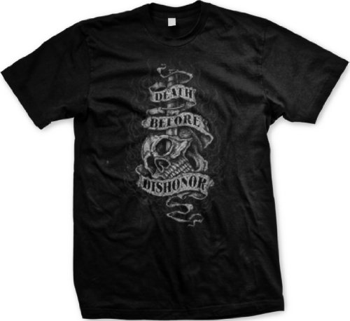 Death Before Dishonor Mens Tattoo Design T-shirt, Tattoo Style Skull Knife and Flames Mens Shirt, X-Large, Black