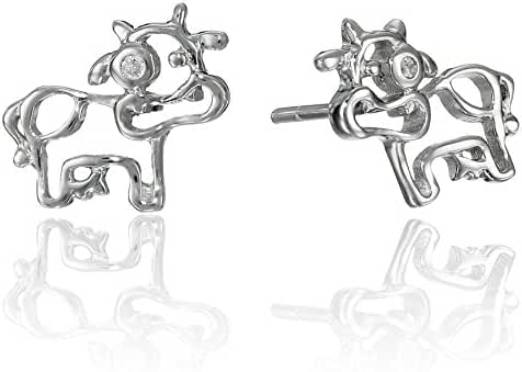 Sterling Silver Children's Cow Button Earrings