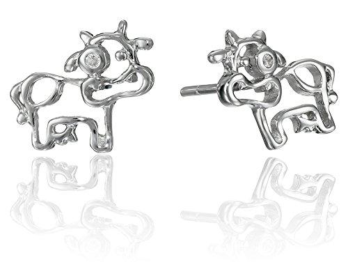 Sterling Silver Children's Cow Button - Children Diamond Earrings