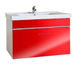 Mueble para fregadero de lavabo, estructura de brillante color blanco y parte central rojo, con 1 mm de alto, y desagüe, lavabo fregadero, tamaño: B/H/T aproximadamente 81/52/48,5 cm