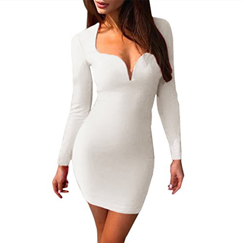 MOLFROA Women's Sexy Long Sleeve Low Cut Open Front Deep V Neck Fall Winter Short Party Clubwear Dresses (Sexy Low Cut White Dress)