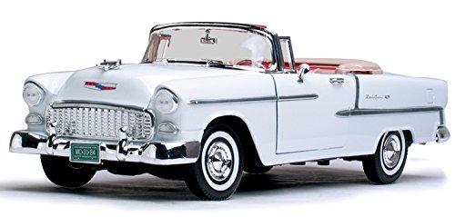 1955 Chevy Bel Air Closed Convertible, White - Motormax Premium American 73184 - 1/18 Scale Diecast Model Car (1955 Chevy Bel Air Convertible)
