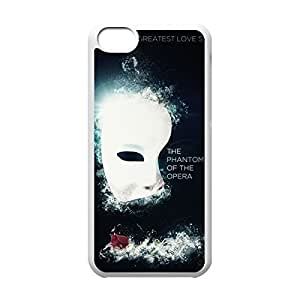 Classical Style Case with Phantom of the Opera Lightweight Plastic Protective Back Cover for iPhone 5C -White031204