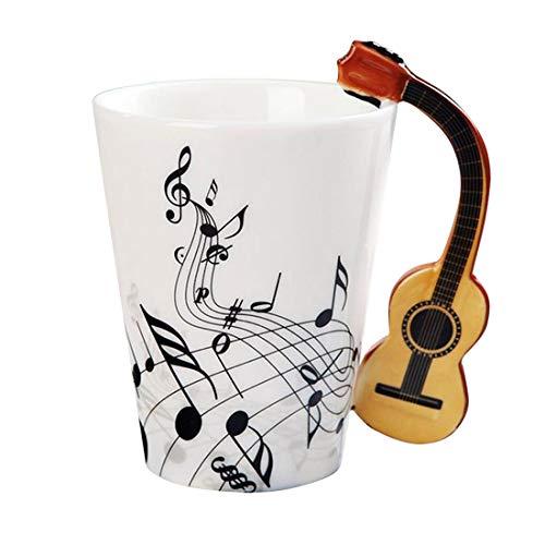 Musical Instrument Notes Coffee Mug With Guitar Shaped Unique Handle Fashion Tea Milk Ceramic Porcelain Cup ()
