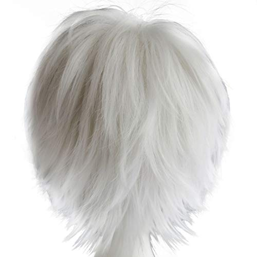 Alacos Women Men Short Fluffy Straight Hair Wigs Silver White Anime Cosplay Party Dress Costume Wig+ Free Wig Cap -