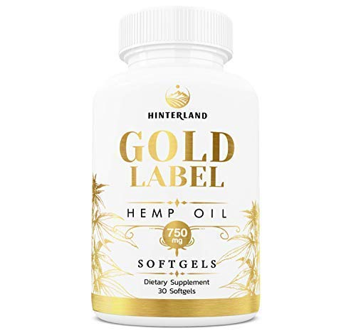 Hinterland Gold Label Hemp Oil Softgels, 25mg Capsules for Pain Relief, Anti-Anxiety, Less Stress, Better Sleep, Organic USA Grown Hemp, 30 Count, 750mg per Bottle by Hinterland