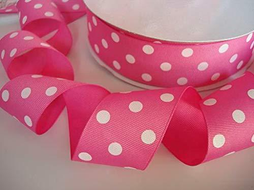 Authentic Pink Ribbon - Ribbon Art Craft Decoration 5 Yards Hot Pink Polka Dots Grosgrain 1.5