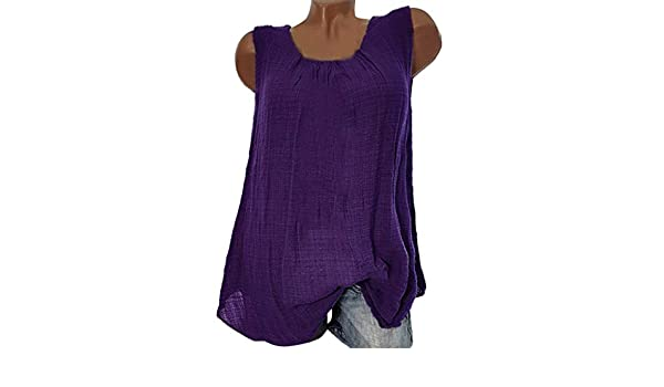 93b6d88ca04a88 Lmx+3f Womens Summer Loose Beautiful Mature Cotton Sleeveless Baggy T-Shirt  Vest Tee Blouse Tank Tops Plus Size Purple at Amazon Women's Clothing store: