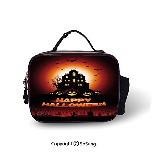 Halloween Cooler Bag Detachable Happy Halloween Haunted House Flying Bats Scary Looking Pumpkins Cemetery Decorative Smooth zipper for lunch bag,10.6x8.3x3.5 inch,Black Orange Red