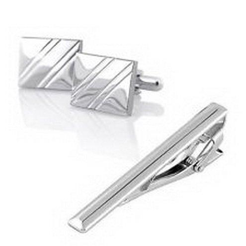 scott allah design - mens accessories NEW For Attire Tuxedo Silver Square Diagonal Ribbed Cufflinks and Tie Clip set