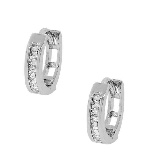 925-Sterling-Silver-White-Baguette-CZ-Hoop-Huggie-Earrings