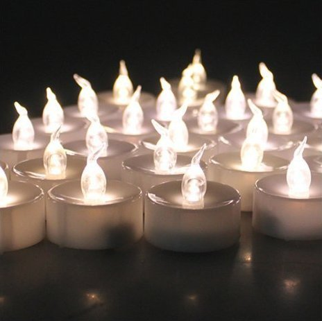6 PCS Flameless Tea Lights, AGPtek Battery Operated Flickering Flashing LED Candles for Holidays Party Wedding - Warm White