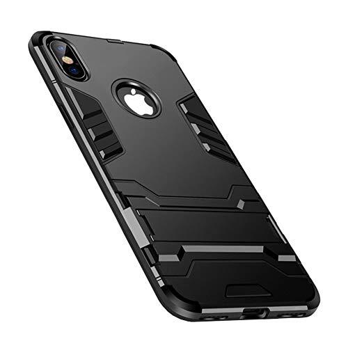 SHUOJIN iPhone X ケース/iPhone XS ケース 耐衝撃 5.8インチ 着脱簡単 カバー ソフトバンパー [スタンド 角度調節可能 落下 衝撃吸収 ワイヤレス充電に影響なし] 米軍規格取得 スタンド機能 全面保護カバー 擦り傷防止 薄型 軽量 滑り止め ワイヤレス充電可 (ブラック)