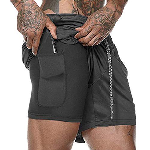 (Men's Workout Running 2 in 1 Shorts Training Gym Short with Pockets Fitness Short Pants (XL, Black))