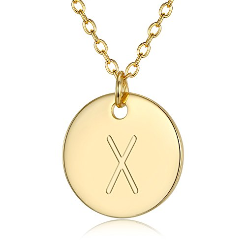 3UMeter Adjustable Initial Disc Pendant Necklace - Combined with Personalized Alphabet X Electroplate 18K Gold Necklace for Women and Girls,Wedding Mother