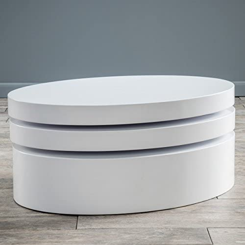 Christopher Knight Home Kendall Oval Mod Swivel Coffee Table, White, Hi-Gloss