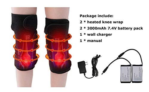 Battery Heated Knee Brace Wrap AWOEZ Rechargeable Lithium Electric Heating Pad Knee Hot Therapy 3 Temperature Control for Joint Pain(1 Pair)