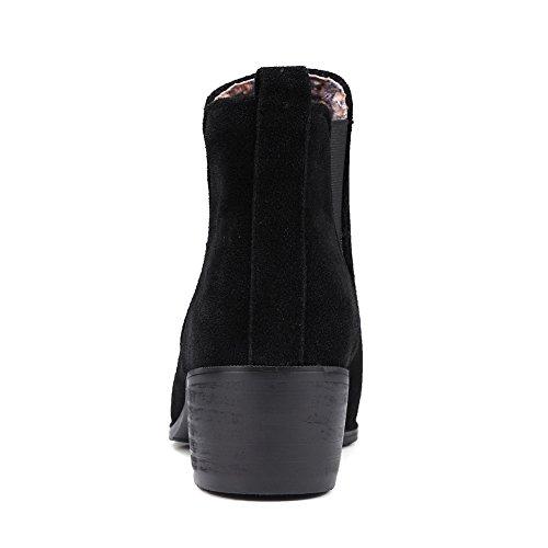 BalaMasa Girls Elastic Band Chunky Heels Mule Imitated Suede Boots Black RojtcWFzS