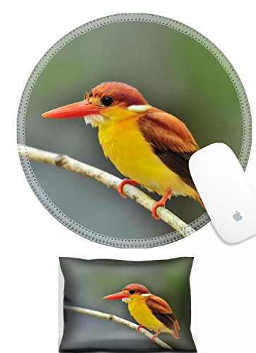 Luxlady Mouse Wrist Rest and Round Mousepad Set, 2pct IMAGE: 31333271 Bird Rufous backed Kingfisher Thailand