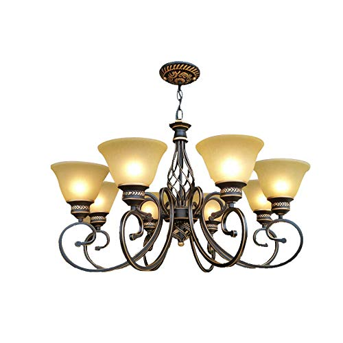 Starry Lighting SL-63624-8,Vintage 8-Light Metal Chandelier with Frosted Glass Shade,Retro Ceiling Lighting Chandelier for Living Room,Dining Room